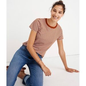 madewell • NWT • rust and white striped tee / top